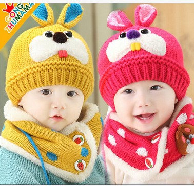 2015 Baby Girl winter hat and scarf set crochet clothes boy child hot  rabbit hats beanies cappellini neonate newborn to drink b407c0d64d30