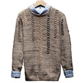 2016 Autumn New Trend Style Men Sweater Cotton Wool Men Pullover Sweaters Fashion Patchwork Pullovers Man Style Mens Pullover