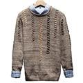 2016 Otoño Nuevo Estilo de Los Hombres de Tendencia Suéter de Algodón Hombres Suéter Suéteres de Moda de Lana Patchwork Jerseys Hombre Mens Del Estilo Pullover
