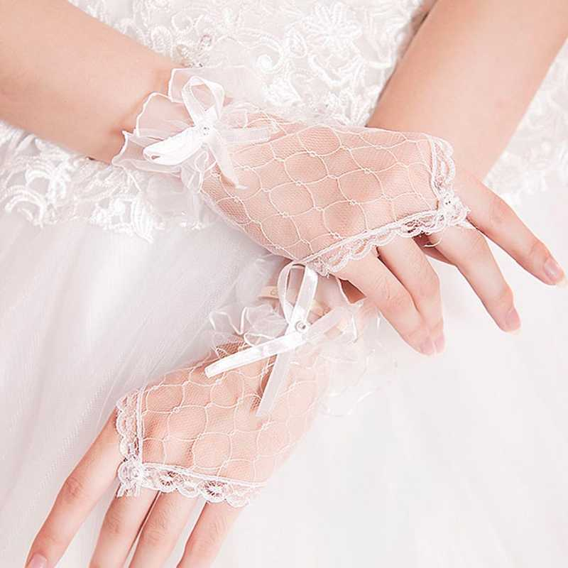 Women Fingerless Bridal Gloves Short Lace Glove Wedding Party Prom Accessory W