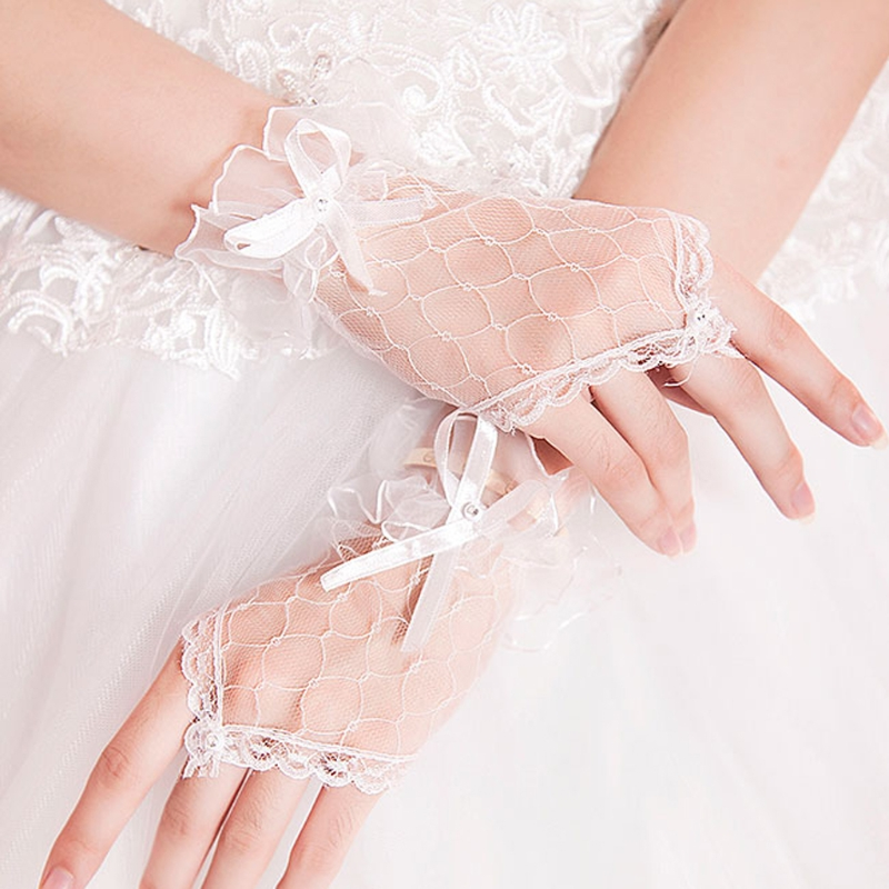 Women Lace Gloves Net Yarn Bowknot Fingerless Wedding Accessories Bridal Gloves