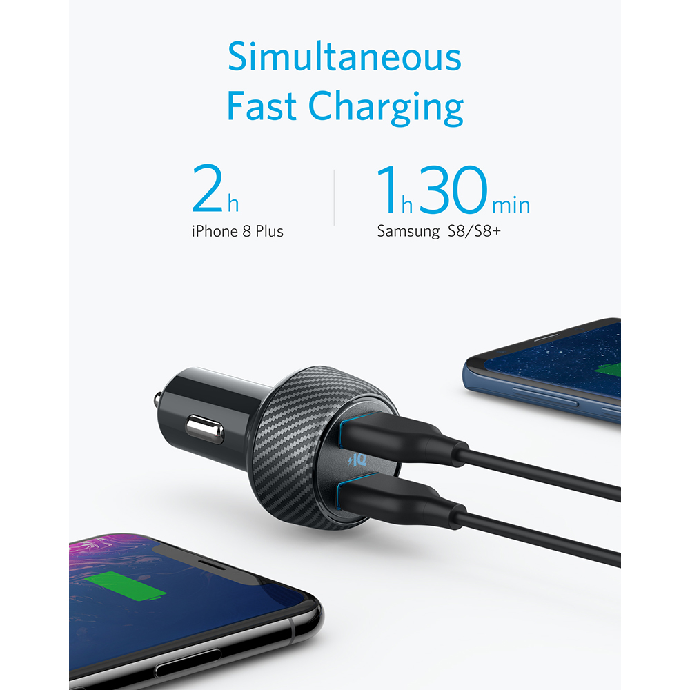 Image 3 - Anker 30W Dual USB Fast Charger,Compatible with Quick Charge Devices,PowerDrive Speed 2 with PowerIQ 2.0 for Galaxy iPhone etc-in Car Chargers from Cellphones & Telecommunications