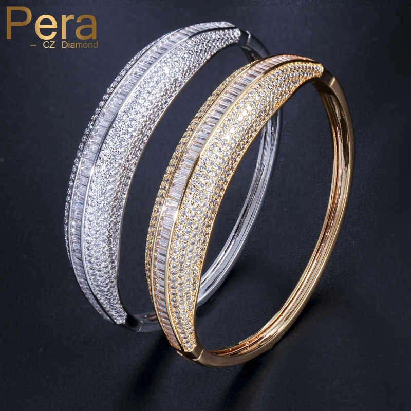 Pera Famous Brands Indian Dubai Bridal Wedding Gift Big Round Cubic Zirconia Vintage Women Prom Party Cuff Bangle Jewelry Z034