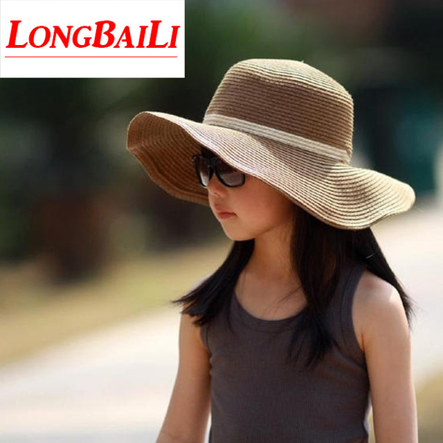 ed0e37e0 Summer Sun Beach Hats For Children Wide Brim Kids Straw Floppy Hats Girls  Sombrero Free Shipping SDXS004