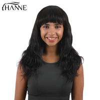 HANNE Hair Short Remy Human Hair Wigs With Bangs for Black Women Natural Weave Wigs 100% Brazilian Human hair 1b# Color