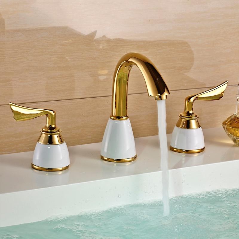 Luxus 3 Stück Set Wasserhahn Bad Wasserhahn Mischer Deck Montiert  Waschbecken Wasserhahn Waschbecken Wc Wasserhahn Set Goldene Finish  Mischbatterie ...