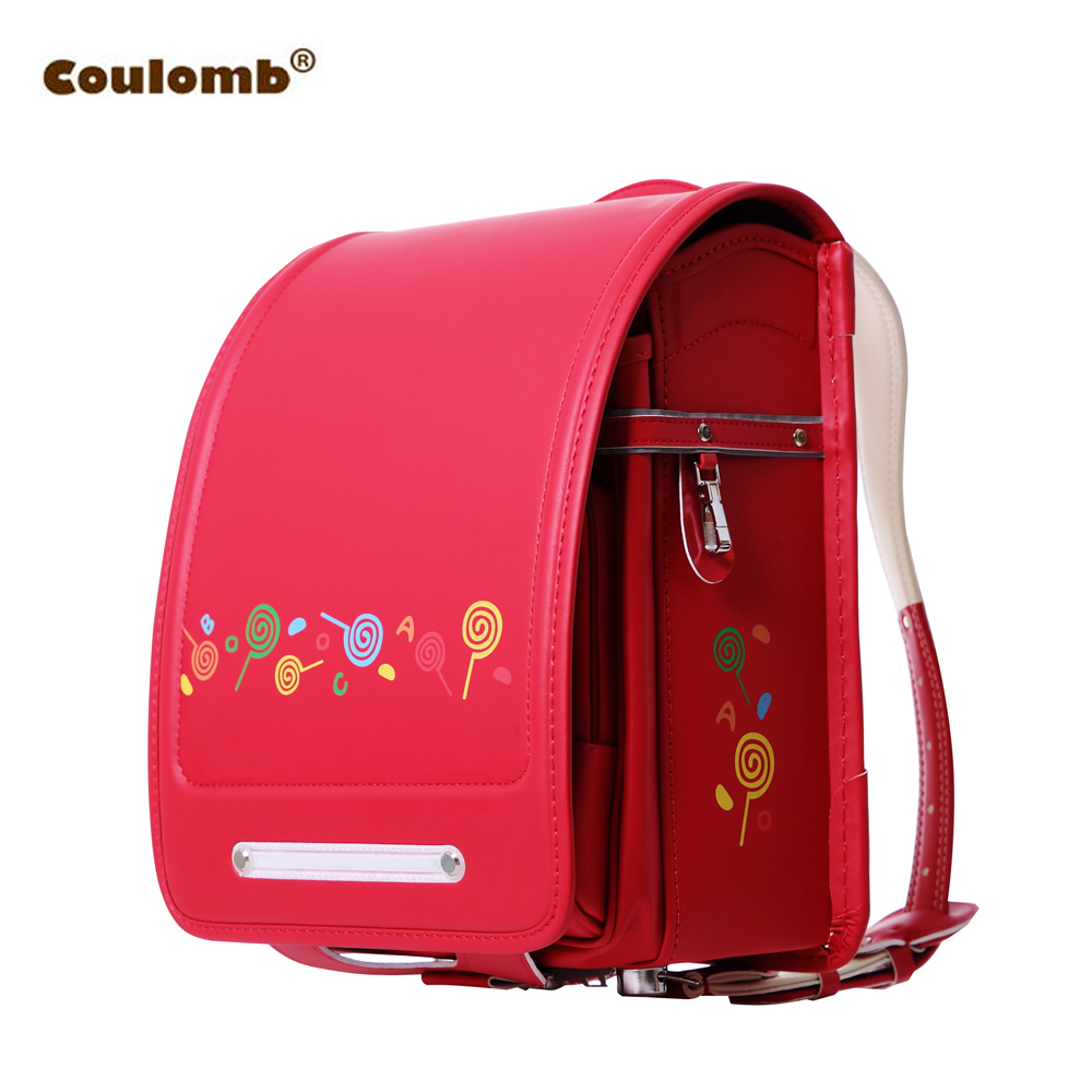 Coulomb Children Character Backpack For Girl Candy School Bags PU Red Pink Randoseru Orthopedic A4 Large