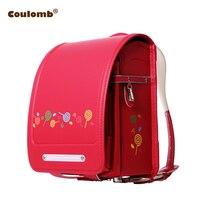 Кулоновского Дети характер рюкзак для девушки конфеты Школьные Сумки из искусственной кожи красный и розовый Randoseru ортопедические A4 большо