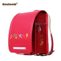 Coulomb Children Character Backpack For Girl Candy School Bags PU Red&Pink Randoseru Orthopedic A4 Large Capacity Kids Bookbags