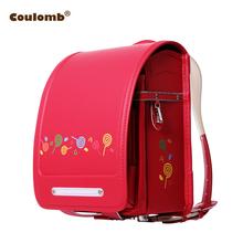 Coulomb plecak dla dzieci dla dziewczynki cukierki torby szkolne PU czerwony i różowy Randoseru ortopedyczne A4 duża pojemność dla dzieci Bookbags tanie tanio Cartoon Zipper hasp Dziewczyny Japanese PU BL RS 0027 32cm 24 5cm 1 2kg 18cm Children Character Backpack Backpack For Girl