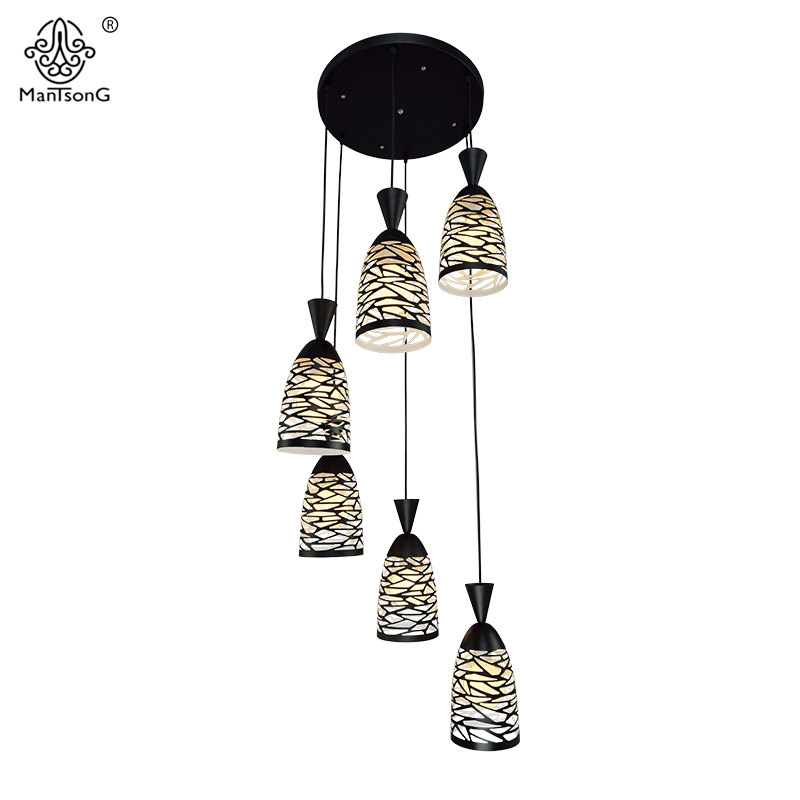 6 Heads Modern Pendant Lights E27 Living Dining Room Pendant Lamp Home Lighting Europe Hollow Vintage Light Fixtures Luminaire a1 master bedroom living room lamp crystal pendant lights dining room lamp european style dual use fashion pendant lamps