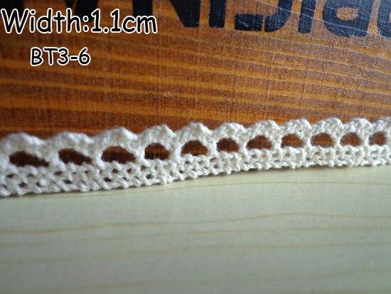 Хлопковая кружевная лента 11mmx50yards швейная лента, белый кружевное полотно, бобинетовое кружево обрезанная лента - Цвет: Бежевый