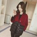 Preto Vermelho de Lã Costura de Algodão jaqueta mulheres Outono chaquetas mujer Parka Único Breasted colete feminino casaco feminino 1849