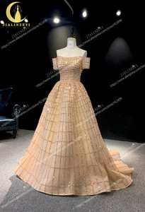 Image 3 - JIALINZEYI Real Image Luxurious Boat Neck Chapagne Beads Court Trian robe de soiree Formal Dresses Evening Dress 2019