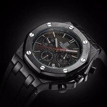 Фирменная Новинка Для мужчин часы кварцевые часы черный резинкой 3ATM водонепроницаемость хронограф Для мужчин S кварцевые наручные часы