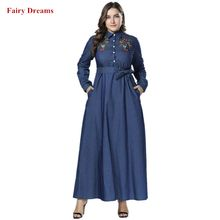 Muslim Denim Shirt Dress Women Dubai Abayas Embroidery Islamic Clothing Blue Jeans Bangladesh Turkish Long Sleeve Bandage Robe(China)