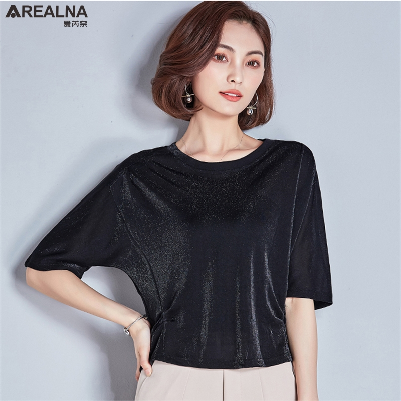 2018 Women Sexy Shining Silk Short Sleeve T Shirt Korean Summer Kawaii Laser Rainbow Tee Shirts Black Vogue Women Tops Clothing