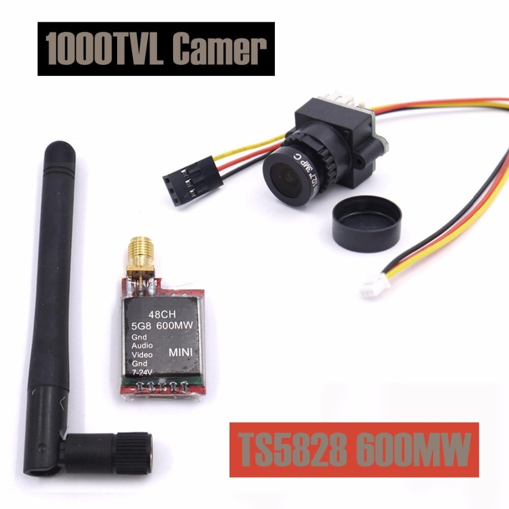 FPV Mini cámara de vídeo Digital 1000TVL 1000 TVL 2,8mm lente y TS5828 Micro 5,8g 600 MW 48CH transmisor para RC qulticopter