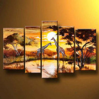 5 pieces Hand Painted Giraffes By The Waterspring Modern Canvas Art Wall Decor Landscape Oil Painting Wall Art