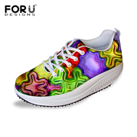 Forudesigns 2017 أزياء المرأة شقة منصة أحذية السيدات الأحذية سوينغ التخسيس فقدان الوزن الارتفاع زيادة عارضة تنفس