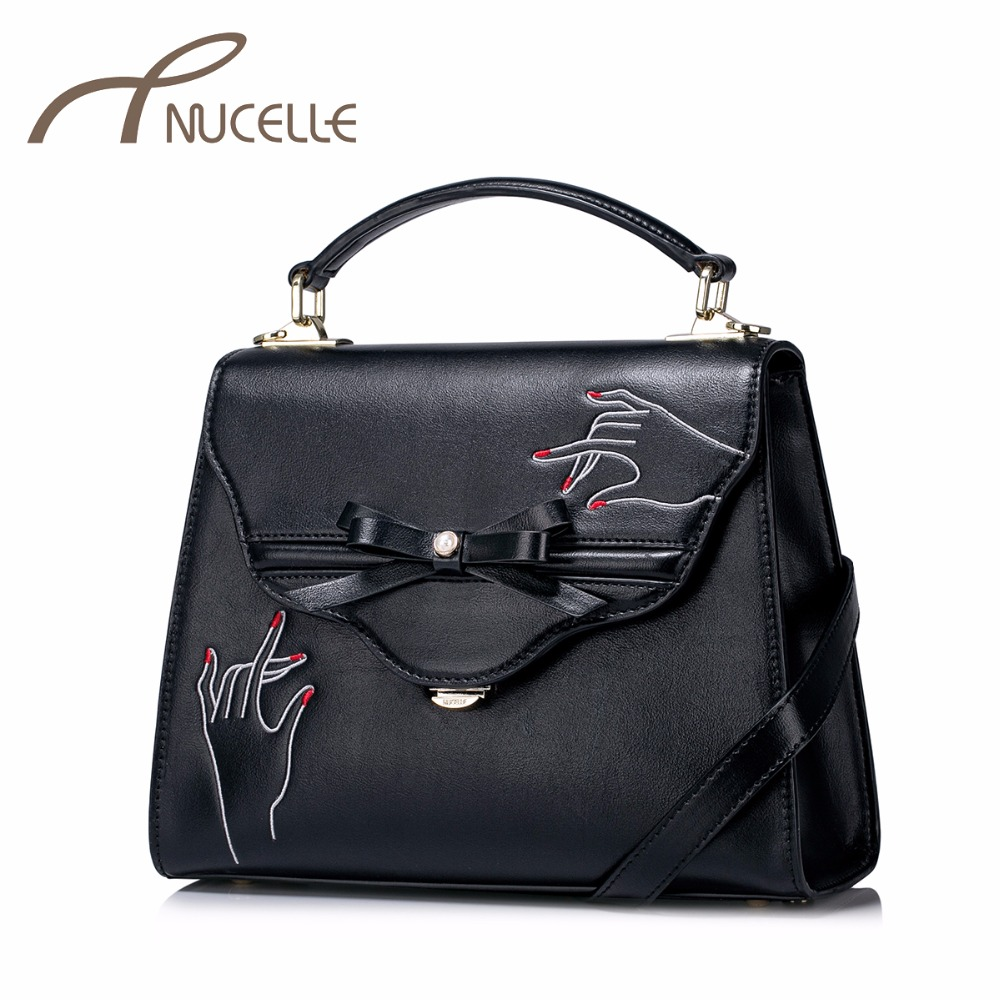 NUCELLE Women PU Leather Handbags Ladies Fashion Bow Messenger Tote Purse Female Elegant All-match Crossbody Bags NZ5955