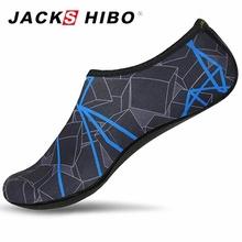 JACKSHIBO letnie buty do wody mężczyźni buty do pływania Aqua buty plażowe duży Plus rozmiar Sneaker dla mężczyzn paski kolorowe zapatos hombre tanie tanio Pasuje prawda na wymiar weź swój normalny rozmiar Spring2019 Slip-on Początkujący Szybkoschnący Elastycznej tkaniny