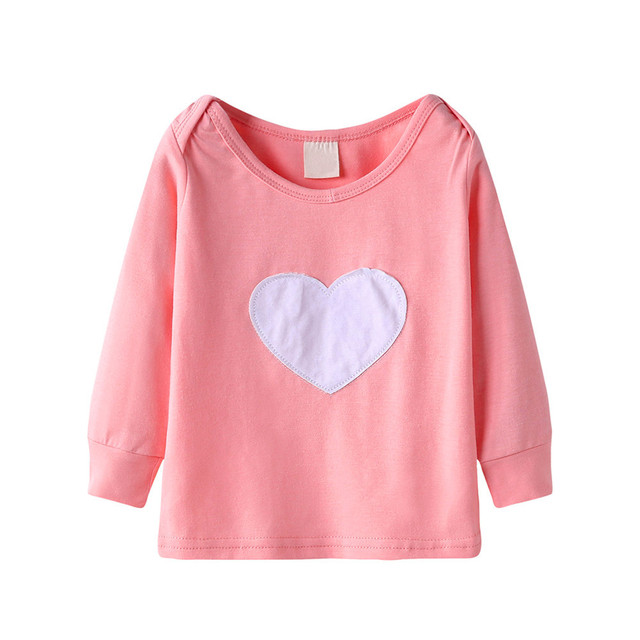 1a1dbe4662e52 Cute Baby Girls T-shirt Long Sleeve Heart Print Tops T Shirt Clothes  Outfits Kids Clothes Little Girls Clothing #C