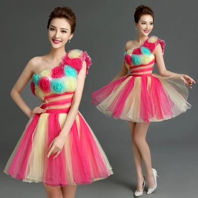 Free ship clown 3d flowers tutu lovely sleeve short lolita dress