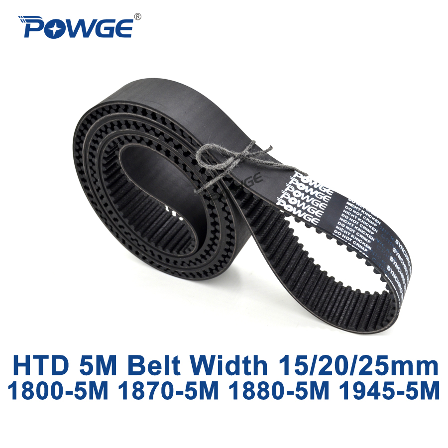 POWGE HTD 5M synchronous Timing belt C=1800/1870/1880/1945 width 15/20/25mm Teeth 360 374 376 389 HTD5M 1800-5M 1870-5M 1945-5M powge htd 5m timing belt c 180 190 200 205 width 15 20 25mm teeth 36 38 40 41 htd5m synchronous belt 180 5m 190 5m 200 5m 205 5m