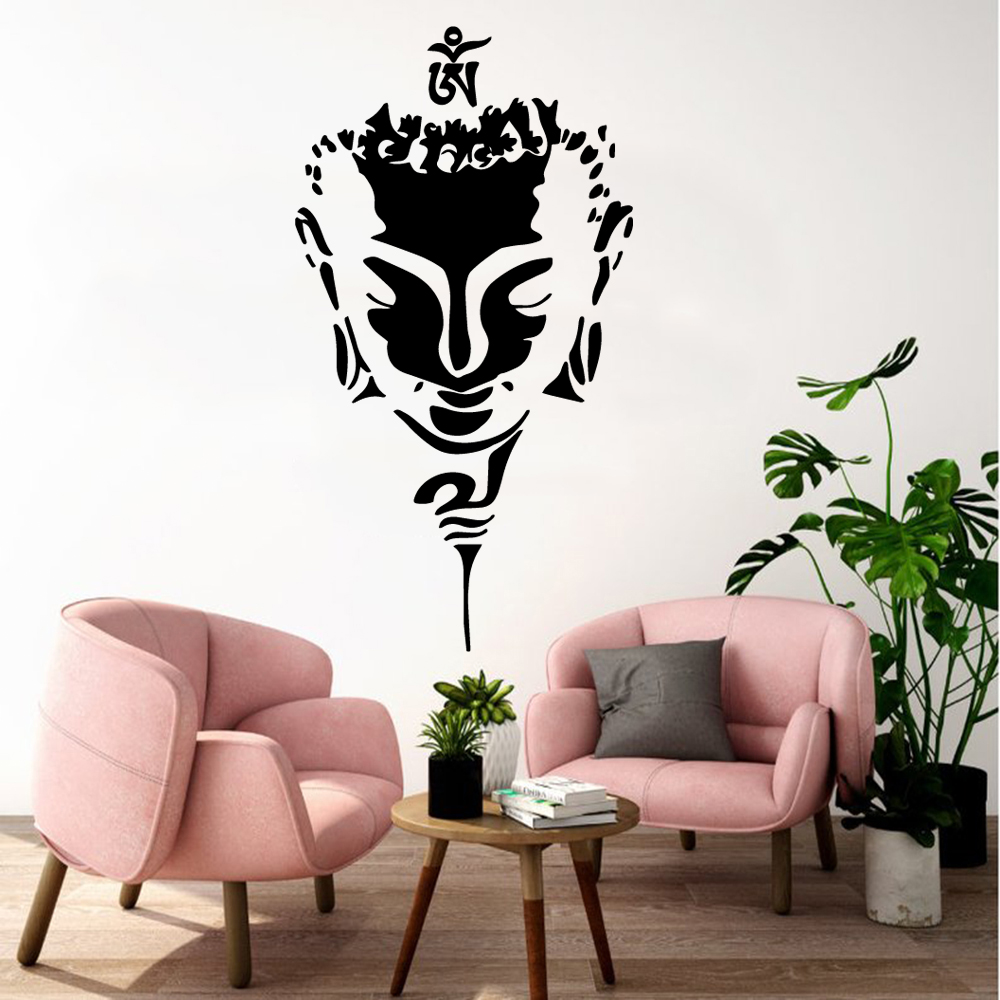 NEW Figure of Buddha Family Wall Stickers Mural Art Home Decor Decor Living Room Wall Decoration Religious Decals naklejki in Wall Stickers from Home Garden