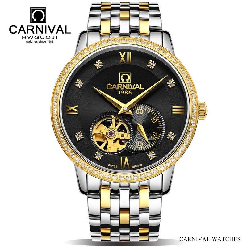 CARNIVAL Fashion Tourbillon Men Watch Top brand Small second dial Automatic Watch Men Sapphire 30m Waterproof Mechanical watches