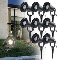 8 шт. IP65 садовый ландшафтный свет Светодиодная лампа для газона 4 Вт GU10 водонепроницаемое освещение Спайк лампа уличные садовые Прожекторы д...
