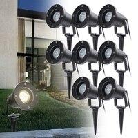 8pcs IP65 Garden Landscape Light LED Lawn Lamp 4W GU10 Waterproof Lighting Spike Lamp Outdoor Garden Pathway Spotlights
