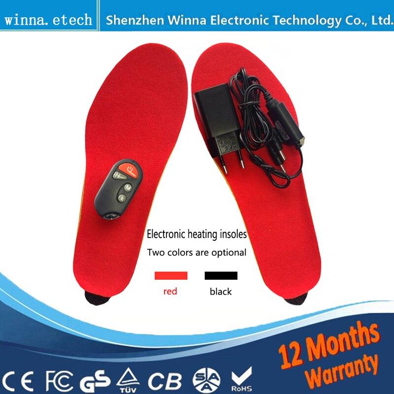 NEUE Elektrische Heizsohle Winter Schuhe Stiefel Pad Mit Fernbedienung schwarz ROT Schaumstoff EUR Größe 35-46 #1800 MAH