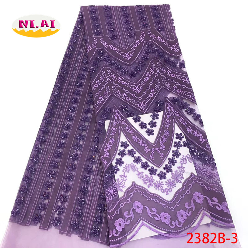 Purple Nigerian Tulle Lace Fabrics Latest Velvet Lace Fabric Sequin Lace Fabric For Party MR2382B