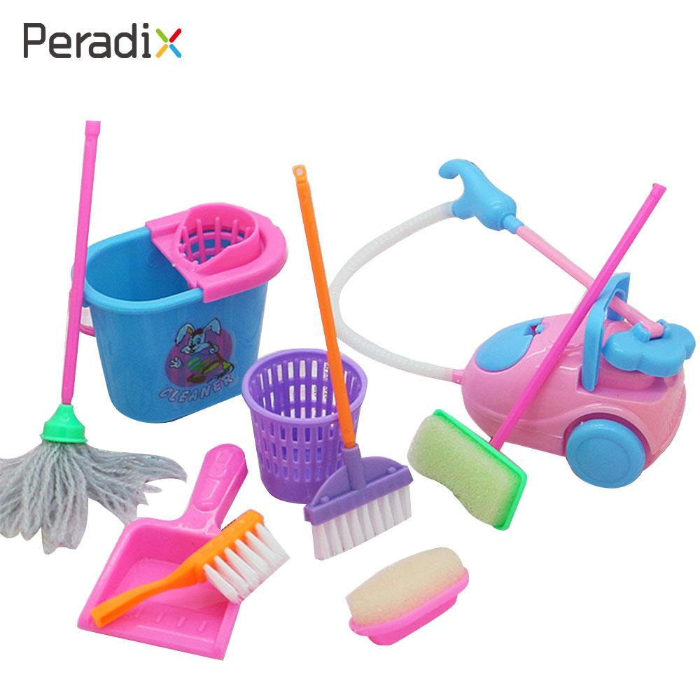 1set  Kids Pretend Cleaning Tool Set Pretend Toys Role Play Cleaning Tool Cleaning Tool 9Pcs/Set Children Educational Gifts
