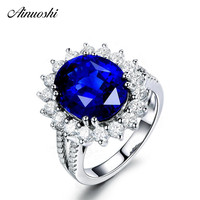 AINUOSHI Big 4 Carats Oval Cut Blue Sona Bridal Halo Rings 925 Sterling Silver Flower Women Wedding Engagement Ring Gift Jewelry