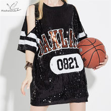 2018 Summer Women Stage Costume Off Shoulder Loose Sequin T-shirt Dress  Street Hip-Pop Mesh Oversized Casual Long Tee 1019704ec047