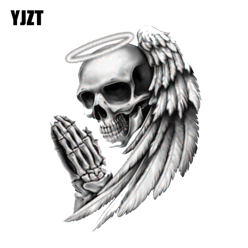YJZT 9.5CM*12.7CM Personality ANGEL OF DEATH SKULL Car Sticker Motorcycle Decal PVC 6-0143