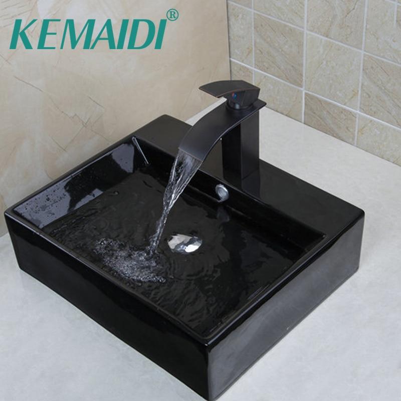 KEMAIDI Современные Черный квадрат Керамика круглой столешницы раковины/судно бассейны с Pop Up Дрейн Ванная комната раковины TD3025