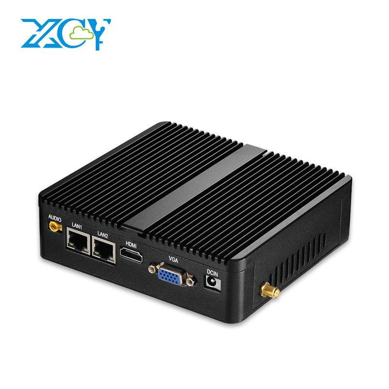 Barebone Intel Celeron Mini PC 3215U 2 * Gigabit LAN 2 * COM RS232 Sans Ventilateur Mini-Ordinateur 4 gb RAM 120 gb SSD WIFI HDMI VGA Windows 10