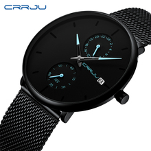 CRRJU 2019 Fashion Dress Men Watch Business Simple Quartz Watches Mens Black Mesh Waterproof Casual Wristwatch for Man Clock