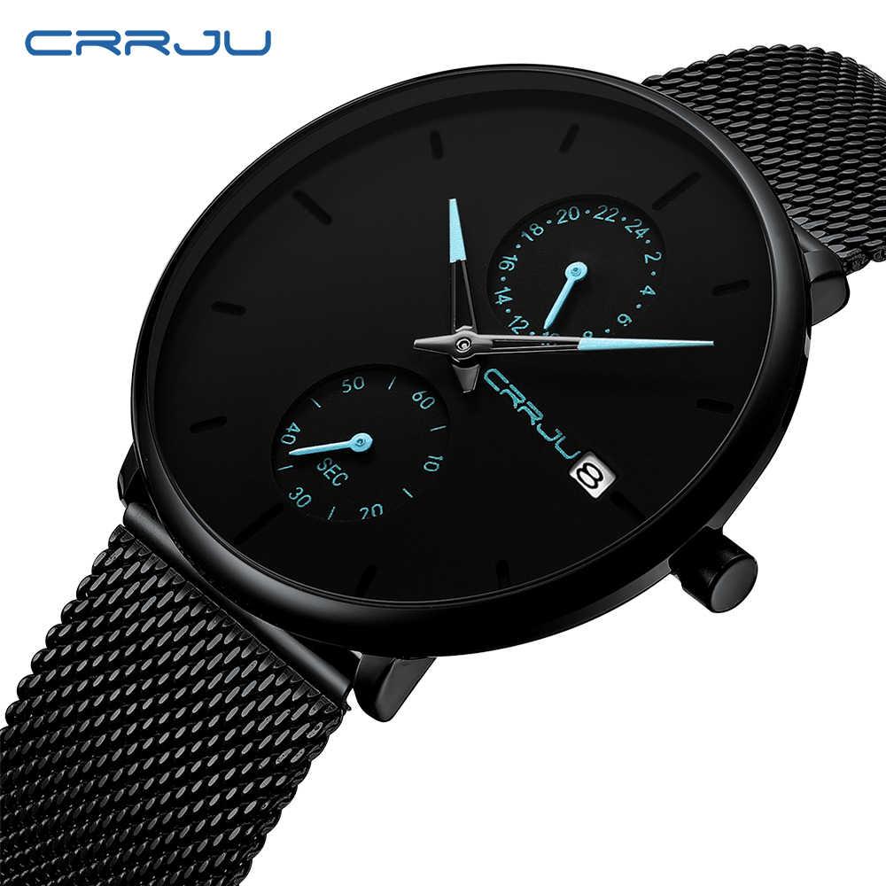 CRRJU 2019 vestido de moda para hombre reloj de cuarzo Simple reloj de pulsera informal impermeable de malla negra para hombre reloj de pulsera