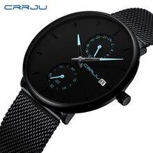 CRRJU 2019 فساتين راقية ساعة رجالية الأعمال ساعات كوارتز بسيطة رجالي شبكة سوداء مقاوم للماء ساعة اليد عادية للرجل على مدار الساعة