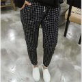 2016 New Spring Casual Loose Cotton Harem Pants Plus Size Plaid Capris Grid Black Pockets Lady Trousers Spring Loose Harem Pants