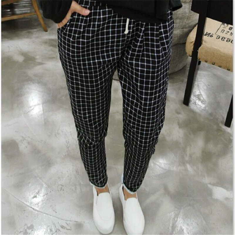New Spring Casual Loose Cotton Harem Pants Plus Size Plaid