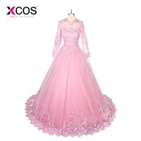 2018 Gorgeous Full Sleeve Formal Party Wear Plus Size New Design Beads Lace Evening Dress Arabic Pink Prom Gowns