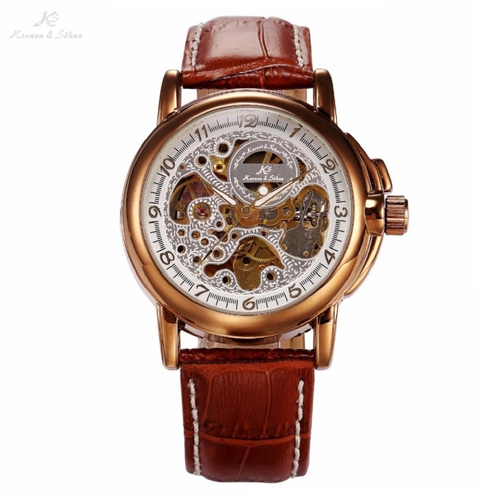 Luxury KS Golden Stainless Steel Case Skeleton Dial Men Automatic Mechanical Brown Leather Strap Wrist Men's Dress Watch / KS037 стоимость