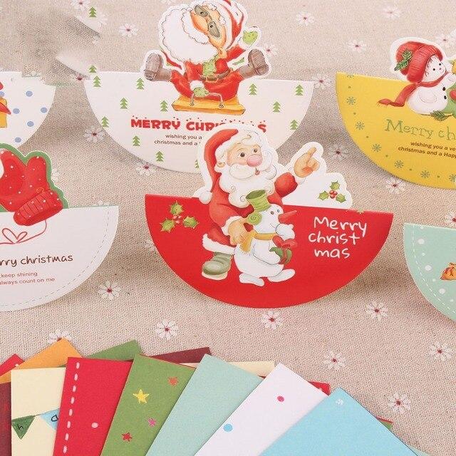 10pcs Set Christmas Cards Birthday Greeting Gift Card Kawaii Happy Messages Santa Claus Snowman