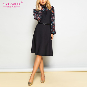 Image 3 - S. טעם נשים סתיו חורף בציר אונליין שמלת לא חגורה אלגנטית פרח הדפסת טלאים ארוך שרוול שמלת המפלגה Vestidos